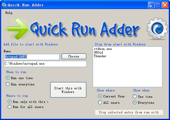 Quick Run AdderV1.0 绿色版